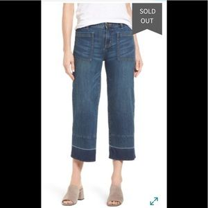 Caslon wide leg cropped jeans with unfinished hem